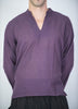 Unisex Long Sleeve Cotton Yoga Shirt with Nehru Collar in Dark Purple
