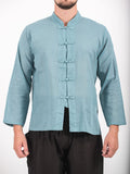 Wholesale Unisex Long Sleeve Cotton Yoga Shirt with Chinese Collar in Aqua - $9.00
