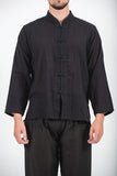 Wholesale Unisex Long Sleeve Cotton Yoga Shirt with Chinese Collar in Black - $9.00