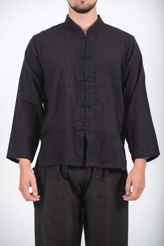 Unisex Long Sleeve Cotton Yoga Shirt with Chinese Collar in Black