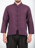 Wholesale Unisex Long Sleeve Cotton Yoga Shirt with Chinese Collar in Dark Purple - $9.00