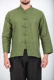 Wholesale Unisex Long Sleeve Cotton Yoga Shirt with Chinese Collar in Olive - $9.00