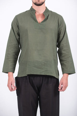 Unisex Long Sleeve Cotton Yoga Shirt with Nehru Collar in Olive