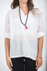 Unisex Long Sleeve Cotton Yoga Shirt with V Neck Collar in White