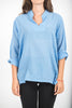 Unisex Long Sleeve Cotton Yoga Shirt with Nehru Collar in Blue