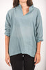 Unisex Long Sleeve Cotton Yoga Shirt with Nehru Collar in Aqua