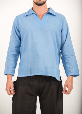 Unisex Long Sleeve Cotton Yoga Shirt with V Neck Collar in Blue