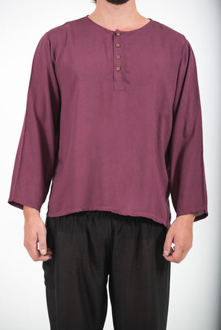 Unisex Long Sleeve Cotton Yoga Shirt with Coconut Shell Buttons in Dark Purple