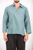 Unisex Long Sleeve Cotton Yoga Shirt with V Neck Collar in Aqua