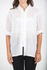 Unisex Long Sleeve Cotton Yoga Shirt with Chinese Collar in White