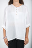 Unisex Long Sleeve Cotton Yoga Shirt with Coconut Shell Buttons in White