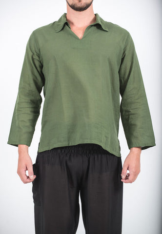 Unisex Long Sleeve Cotton Yoga Shirt with V Neck Collar in Olive