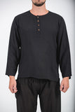 Wholesale Unisex Long Sleeve Cotton Yoga Shirt with Coconut Shell Buttons in Black - $9.00