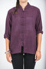 Unisex Long Sleeve Cotton Yoga Shirt with Chinese Collar in Dark Purple