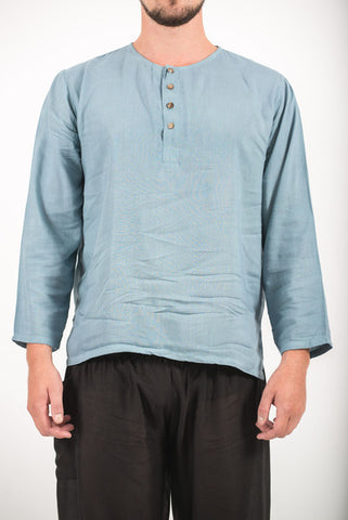 Unisex Long Sleeve Cotton Yoga Shirt with Coconut Shell Buttons in Aqua