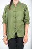 Unisex Long Sleeve Cotton Yoga Shirt with Chinese Collar in Olive