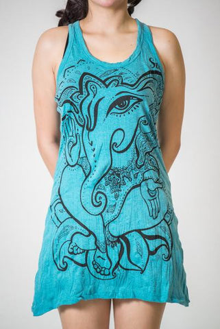 Sure Design Women's Cute Ganesha Tank Dress Turquoise