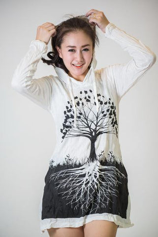 Sure Design Women's Tree Of Life Hoodie Dress White