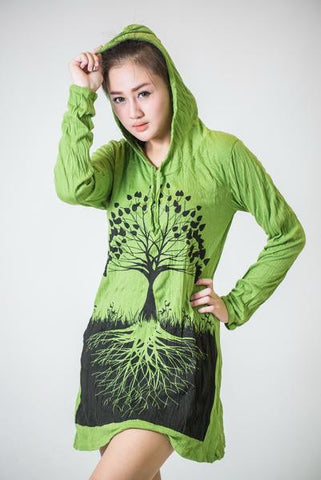 Sure Design Women's Tree Of Life Hoodie Dress Lime