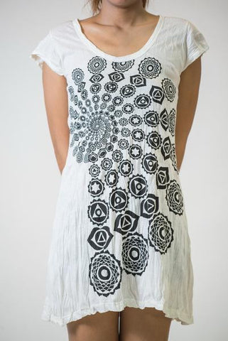 Sure Design Women's Chakra Fractal Dress White