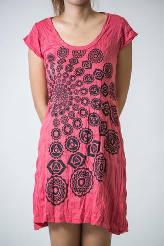 Sure Design Women's Chakra Fractal Dress Red