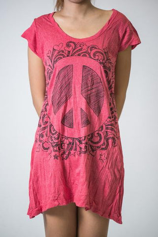 Sure Design Women's Peace Sign Dress  Red