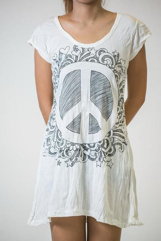 Sure Design Women's Peace Sign Dress White