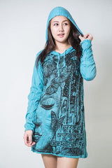 Sure Design Women's Butterfly Buddha Hoodie Dress Turquoise