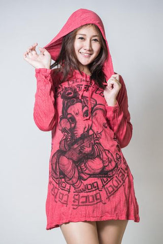 Sure Design Women's Baby Ganesha Hoodie Dress Red