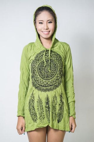 Sure Design Women's Dreamcatcher Hoodie Dress Lime