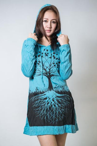 Sure Design Women's Tree Of Life Hoodie Dress Turquoise