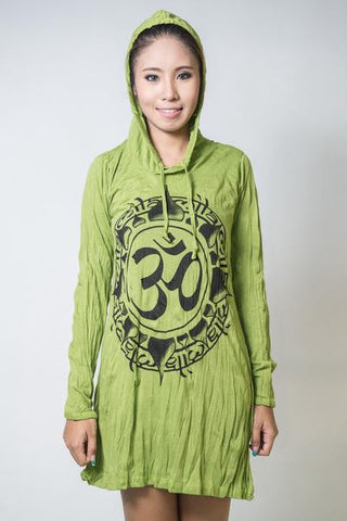 Sure Design Women's Infinitee Ohm Hoodie Dress Lime