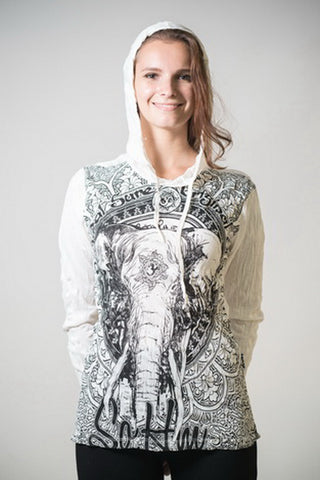 Sure Design Unisex Wild Elephant Hoodie White