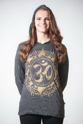 Sure Design Unisex Infinitee Ohm Hoodie Gold on Black