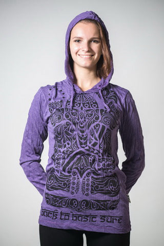 Sure Design Unisex Tattoo Ganesh Hoodie Purple