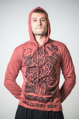 Sure Design Unisex Tattoo Ganesh Hoodie Brick