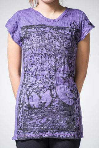 Sure Design Women's Sanskrit Buddha T-Shirt Purple