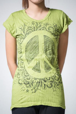 Sure Design Women's Peace Sign T-Shirt Lime