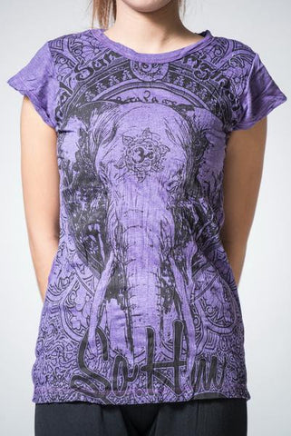 Sure Design Women's Wild Elephant T-Shirt Purple