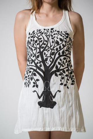 Sure Design Women's Meditation Tree Tank Dress White