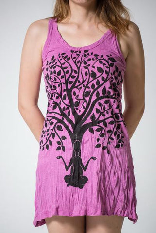 Sure Design Women's Meditation Tree Tank Dress Pink