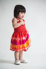 Girls Children's Tie Dye Cotton Dress With Beads Red