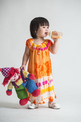 Girls Children's Tie Dye Cotton Dress With Sleeves Beads Orange