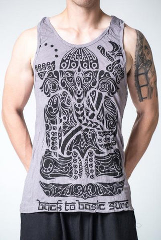 Sure Design Men's Tattoo Ganesh Tank Top Gray