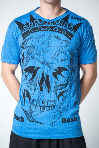 Sure Design Men's Crow Skull T-Shirt Blue