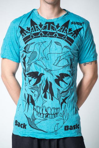 Sure Design Men's Crow Skull T-Shirt Turquoise
