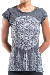 Sure Design Women's Dreamcatcher T-Shirt Silver on Black