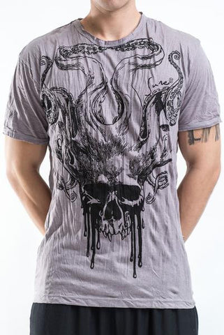 Sure Design Men's Hell Skull T-Shirt Gray