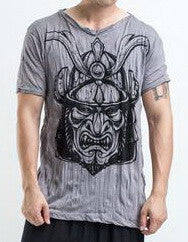 Sure Design Men's Kabuto Samurai Mask T-Shirt Gray