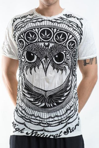 Sure Design Men's Weed Owl T-Shirt White